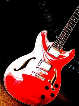 Red Guitar Abstract 1